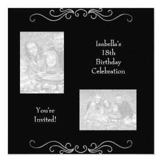 18th Birthday Photos Black Silver Trim Card