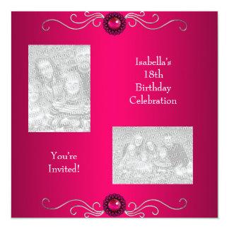 18th Birthday Photos Pink Silver Jewel Trim 13 Cm X 13 Cm Square Invitation Card