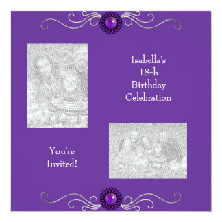 18th Birthday Photos Silver Purple Jewel 13 Cm X 13 Cm Square Invitation Card