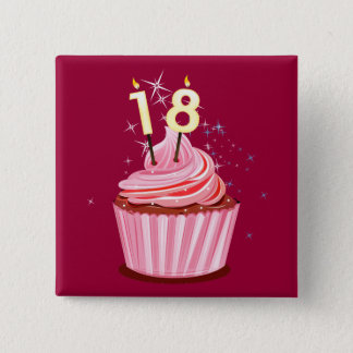 18th Birthday - Pink Cupcake 15 Cm Square Badge
