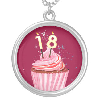 18th Birthday - Pink Cupcake Round Pendant Necklace