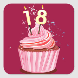 18th Birthday - Pink Cupcake Stickers