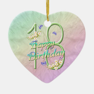 18th Birthday Rainbow Keepsake Heart Ornament