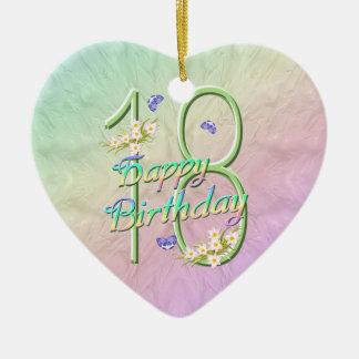 18th Birthday Rainbow Keepsake Heart Ornament