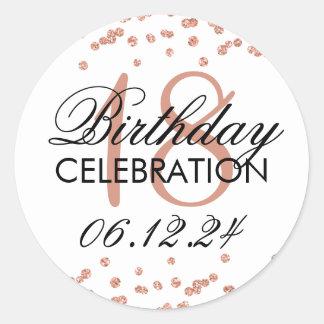 18th Birthday Rose Gold Faux Glitter Confetti Classic Round Sticker