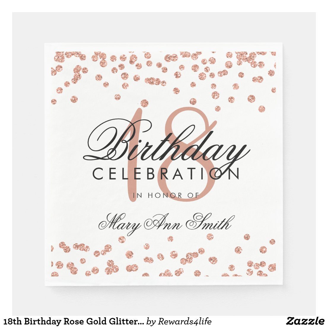 18th Birthday Rose Gold Glitter Confetti White Disposable Serviette