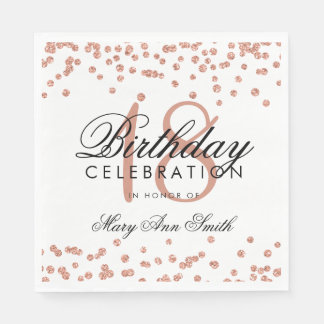 18th Birthday Rose Gold Glitter Confetti White Disposable Serviettes