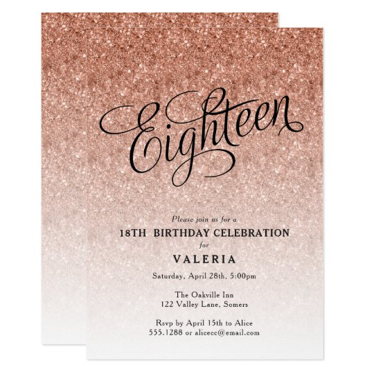 18th Birthday Rose Gold Glitter Invitation