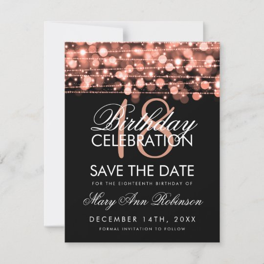 18th Birthday Save Date Party Sparkles Rose Gold Save The