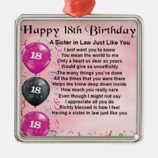 18th Birthday - Sister in Law Poem Silver-Colored Square Decoration