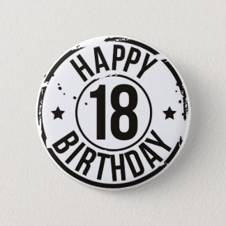 18TH BIRTHDAY STAMP EFFECT 6 CM ROUND BADGE