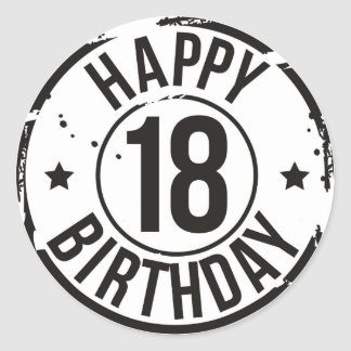 18TH BIRTHDAY STAMP EFFECT CLASSIC ROUND STICKER