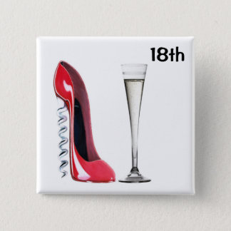 18th Birthday Stiletto and Champagne Badge