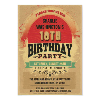 18th Birthday Vintage Typography Grunge 13 Cm X 18 Cm Invitation Card