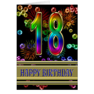18th Birthday with rainbow bubbles and fireworks Card