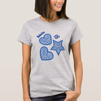 18th Birthday Zebra Star Hearts A04A GRAY T-Shirt