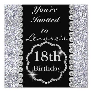 "18th BLING Birthday Party Invitation 5.25"" Square Invitation Card"