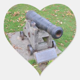 18th Century Cannon Heart Sticker