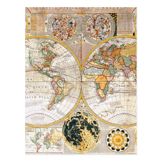 18th Century Dual Hemisphere Map Postcard