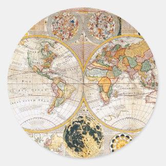 18th Century Dual Hemisphere Map Round Sticker