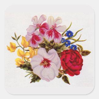 18th century flower bouquet flower arrangement square sticker
