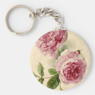 18th Century Pink Rose Study Keychains
