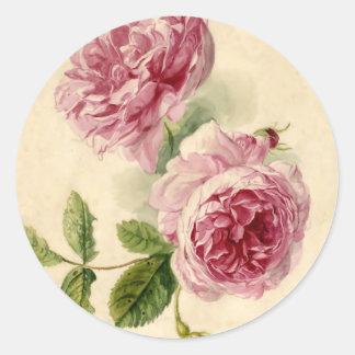 18th Century Pink Rose Study Round Sticker