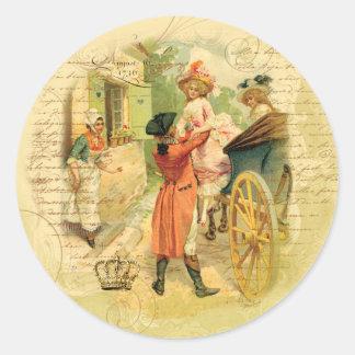 18th Century Wedding Couple in Carriage Round Sticker