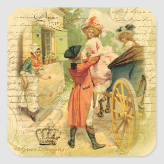 18th Century Wedding Couple in Carriage Square Sticker