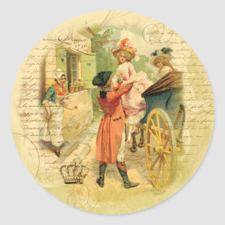 18th Century Wedding Couple in Carriage Stickers