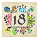 18th Doodles Colourful  Birthday Party Invitation