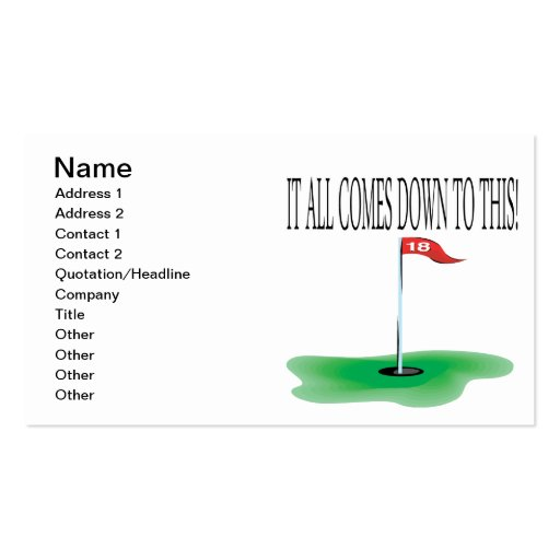 18th Hole Business Card Template