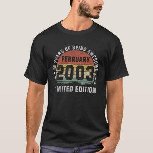 18th Limited Edition February 2003 Vintage Birthda T-Shirt