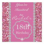"""18th PINK BLING Birthday Party Invitation 5.25"""" Square Invitation Card"""
