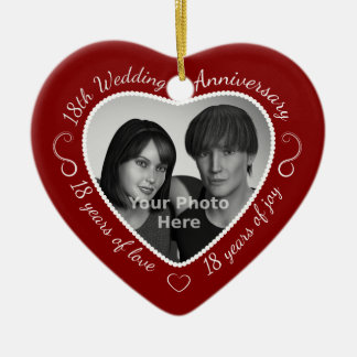 18th Wedding Anniversary Photo Christmas Ornament