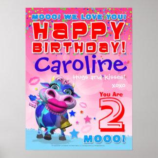 18x24 GiggleBellies Kissy Moo Birthday Poster
