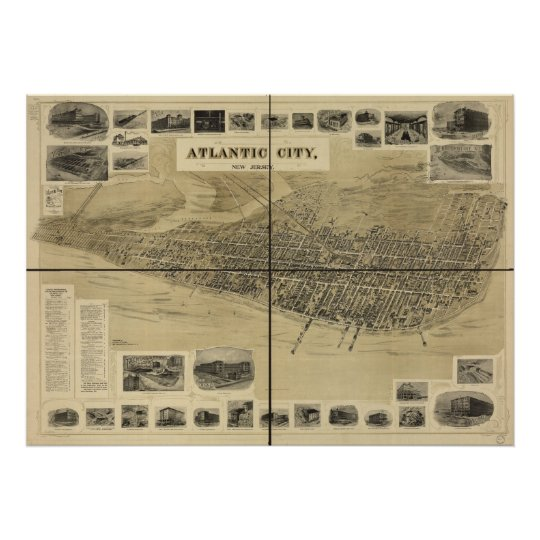 1900 Atlantic City NJ Birds Eye View Panoramic Map Poster