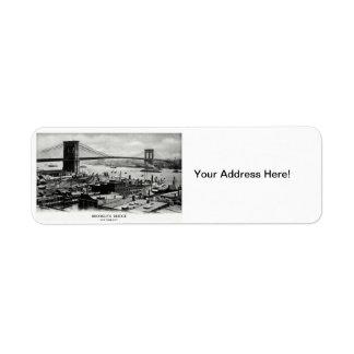 1900 Brooklyn Bridge Panorama Return Address Label