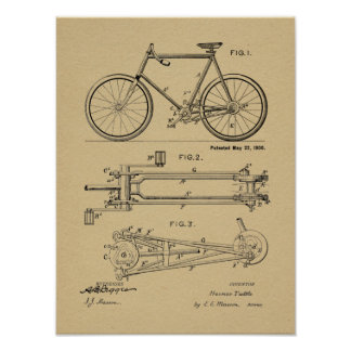 1900 Chainless Bicycle Design Patent Art Print