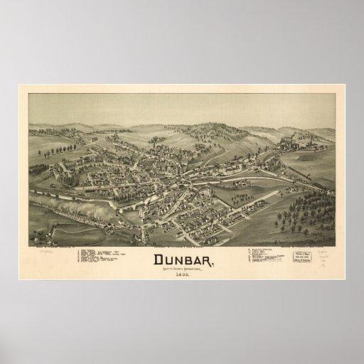 1900 Dunbar, PA Birds Eye View Panoramic Map Poster