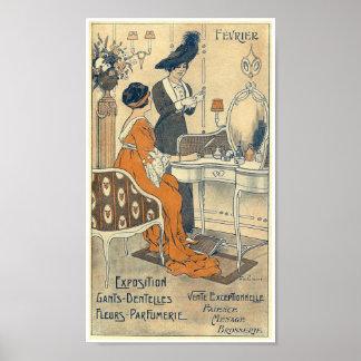 1900 Haute couture shop France Elegant women Poster