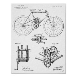 1900 High Speed Gear Bicycle Design Patent Print