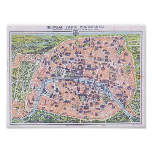 1900 Map of Paris Poster