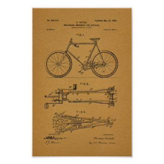 1900 Vintage Bicycle Mechanics Patent Art Print
