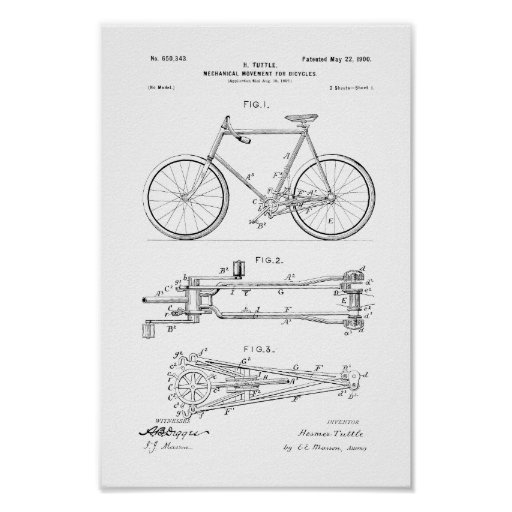 1900 Vintage Bicycle Patent Print Customise Colour