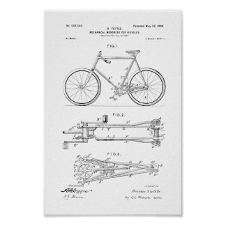 1900 Vintage Bicycle Patent Print Customize Color