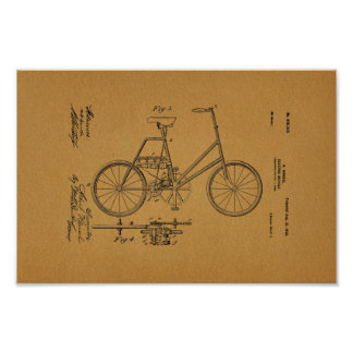 1900 Vintage Electric Bicycle Patent Art Print
