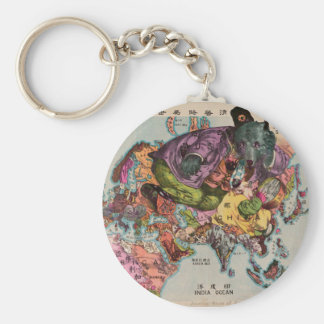 1900 World View Map Basic Round Button Key Ring