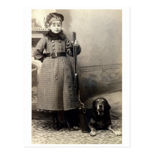 1900 Young Girl and her Hound Postcard