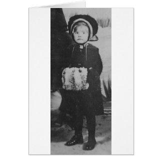 1900's Girl with Hand Muffler Greeting Card